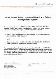 DS/OHSAS 18001 certificate